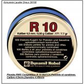 Plombs -RWS- R 10-Match-Cal 4.5mm-Compétition-carabines et pistolets -Air comprimé - par 500 -Tête plate- Ref 10479