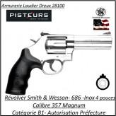 Révolver Smith et Wesson  686 Calibre 357 magnum inox Canon 4 pouces -Catégorie B1-Autorisation Préfecture-Promotion-Ref 765324