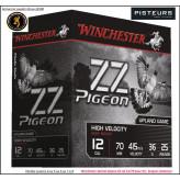 Cartouches WINCHESTER  ZZ PIGEON calibre 12/70-N° 4 ou 5 ou 6 ou  7 1/2-Boites de 25