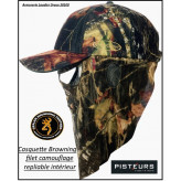 Casquette camouflage Browning face mask +Filet visage.Ref 17688
