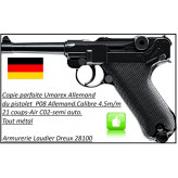 Pistolet-P08 -Cal-4.5mm-CO2-Billes d'acier 21 coups-Ref 19882