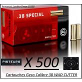 Cartouches38 Wad Cutter Geco Par 500-poids 158 grs-Promotion-Ref 240-bis