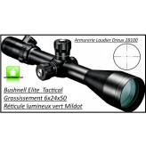 """Lunette- Elite Tactical-Bushnell- Grossissement 6x24 x 50-Réticule lumineux vert- Mildot-""""Promotion""""-Ref 24364"""