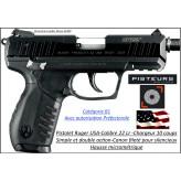 Pistolet Ruger SR22 PBT Calibre 22 Lr-Semi automatique Canon fileté-Chargeur 10 coups-Catégorie B1-Autorisation Préfectorale-Promotion-Ref 24489