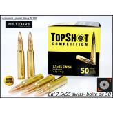 Cartouches-Top-Shot -Cal 7.5 x 55 Swiss-Boite de 50-Promotion-Ref 31997-35471