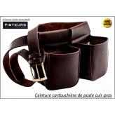Ceinture-cartouchière-de-poste-cuir-country-Ref 35219