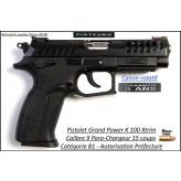 Pistolet Grand Power K100 Xtrim Calibre 9mm para noir 15 coups-Catégorie B1-Autorisation-Préfecture-Promotion-Ref grand power-K100-xtrim