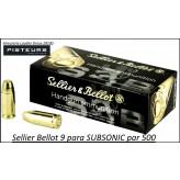Cartouches 9 para Sellier Bellot SUBSONIC FMJ Blindées-Par -500-poids-9gr/ 140 grs-Promotion-Ref 3095-500