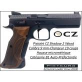 Pistolet CZ SHADOW 2 WOOD Calibre 9 Para-Semi automatique-Catégorie B1-Promotion-Avec-Autorisation-Préfectorale-B1-Ref 782408