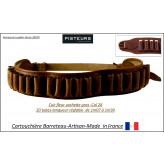Cartouchière calibre 28 Barreteau Artisan cuir gras  fleur vachette-Ref 31789