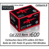 Cartouches calibre 223 rem GECO DTX FMJ blindées par 600 cartouches CIP poids 55 grains -Promotion-Ref 223 bis-geco-600