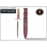 Dague Browning  Manche olivier-Lame 23 cm Stainless 440 a- Livrée avec étui cuir-promotion- Ref 35543