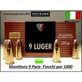 Cartouches- 9 para-Fiocchi-FMJ-Blindées-Par 1000-poids 123 grs-Promotion-Ref 28114ter