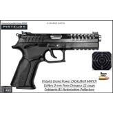 Pistolet Grand Power Excalibur MATCH Calibre 9mm para noir 15 coups-Catégorie B1-Autorisation-Préfecture-Promotion-Ref Grand power-Excalibur-Match
