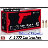 Cartouches 9 para Geco DTX Blindées FMJ Par 1000-poids 115 grs-Promotion-Ref geco dtx 9mm-1000