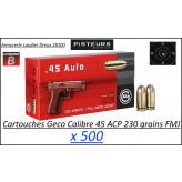 Cartouches 45 ACP Geco FMJ Blindées Par 500-poids 230 grs-Promotion-Ref 239-bis