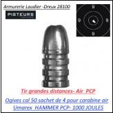 Ogives calibre 50 umarex pour carabine Hammer air PCP sachet de 4-Ref 42199
