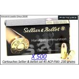 Cartouches sellier bellot  45 ACP par 500-poids 230 grains FMJ-Promotion-Ref 3039