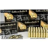 Cartouches-9 para-Sellier-Bellot-FMJ-Blindées-Par -500-poids-8gr/ 124 grs-Promotion-Ref 3041-500