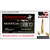 Cartouches Winchester MATCH TIR Calibre 6.5 Creedmoore -Type Match BTHP.9.07 gr.(140 grains-boite de 20) -Ref 32954
