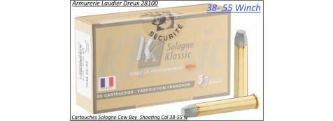 Cartouches Sologne calibre 38 55 winch-COW BOY plomb-260 grains-Boite de 20-Pour armes anciennes-Ref sologne-38-55