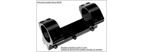 Montage monobloc métal pour rail de 11 mm.  Diamètre 30 m/m.Ref 12483