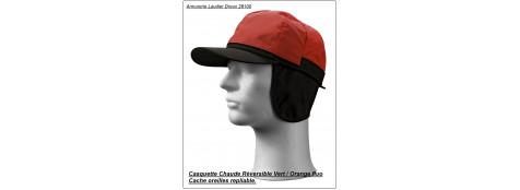 Casquette chaude.  ARBOIS LCX®. REVERSIBLE fluo orange et bronze.Ref 14840