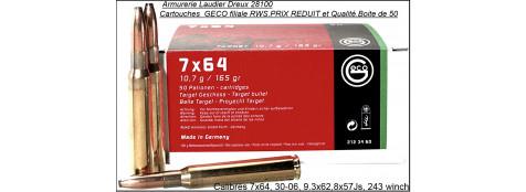 """Cartouches Sanglier courant  """" GECO"""" Allemandes -(filiale RWS et qualité )-Cal: 30-06-7x64- 9.3 x 62 -308 winch -8x57 JS-(1/2 blindées)-Boites de 50-""""PRIX REDUIT""""."""