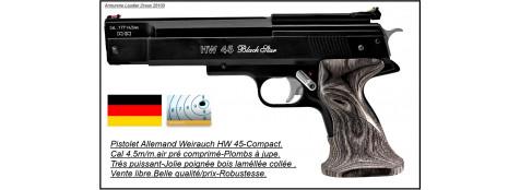 """Pistolet-Weirauch-HW-45-Black-STAR-Cal 4,5m/m-Air-Pré comprimé-""""Promotion""""-Ref 16399"""