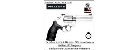 Révolver-Smith-et-Wesson-Calibre-38-357-magnum-686-inox-Canon-4-pouces -Catégorie B1-Autorisation Préfecture-Promotion-Ref 765324