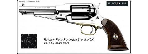 Révolver PIETTA poudre noire 1858 Remington SHERIFF'S INOX Calibre 44-Promotion-Ref 16637