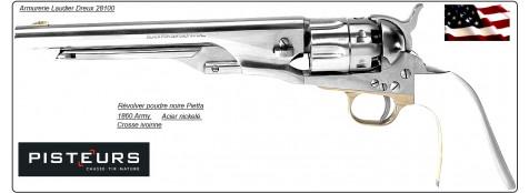 Révolver- Pietta-modèle 1860 ARMY - nickelé-Cal 44- poudre noire-Ref 16638