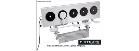 Cible métal type Biathlon calibre 4.5 m/m  avec 5 zones de tir-Ref 17031