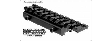 Rail Picatinny- 21m/m- Rehausse-Adaptable sur rail de 11m/m-Ref 17574