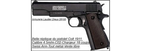 "Pistolet  type Colt 1911- SWISS ARMS-semi-auto- Cal. 4,5 mm-CO2-Blow-Back-""Promotion""--VENTE LIBRE--Ref 17797"