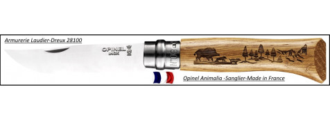 Couteau OPINEL Gamme Animalia- Gravures Sangliers- Ref 18701