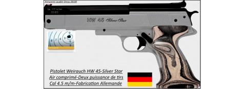 Pistolet-Weirauch-HW-45 -Silver-Star-Cal 4,5m/m-Air Pré comprimé-Promotion-Ref 18787