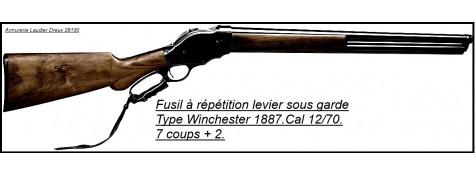Fusil-Système-Winchester-modèle 1887-levier de sous-garde- à répétition manuelle-Cal.12/70-Capacité 7 + 2 cartouches-Azur armes-Ref 15802