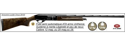 Semi automatiques-ATAArms-Unifrance-NEO walnut-Cal 12 mag,ou 20mag,ou 28/70-Carcasse bronzée-ou-nickelée-Système INERTIE-Canons de 71 cm ou 76cm-Promotions