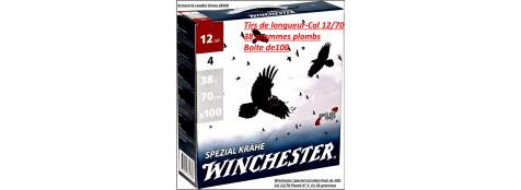 Cartouches-Winchester-Spécial corvidés-Cal 12/70-Plomb N°4 en 38 gr-Pack de 100 cartouches-Ref 19093