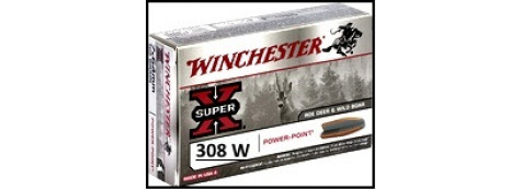 Cartouches-Calibre-308-winch-Winchester-Power point-Super-X- ou- BLINDEES-Ogives -9.52gr-ou-9.72gr-ou-11.66 gr-Boite de 20