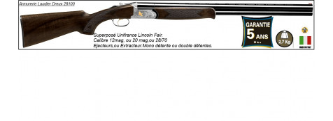 Superposé Unifrance LINCOLN.Cal 12mag. Light--Extracteur.-Double  détentes. Canons de 71 cm.Ref 19343
