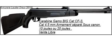 """Carabines  air comprimé-GAMO-Big Cat CF-S -Air comprimé-Cal. 4,5 mm- synthétiques -10 joules ou 19,90 joules-VENTE LIBRE-""""Promotions""""."""