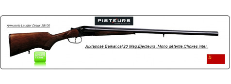 Juxtaposé Baïkal- IJ 43. -Cal 20 Magnum-Éjecteurs-Mono  détente- Canons 66cm -Ref 16139