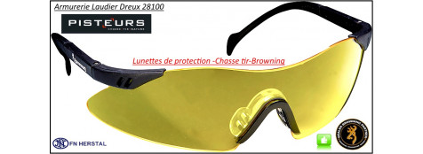 Lunettes Browning Claybuster Tir Chasse protection -coloris-jaune-ou-blanc translucide