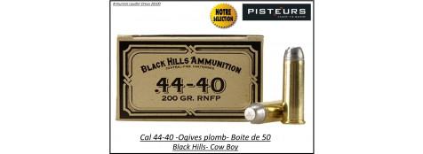 Cartouches Black Hills-calibre-44-40-COW-BOY-plomb-200 grains-FMJ-Boite de 50-Pour armes anciennes-Ref blackhills-4440