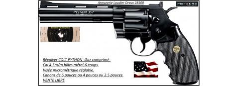 Révolver Colt  PYTHON Umarex CO2 Calibre 4.5mm- Billes d'acier-ou Plombs jupe-6 coups-Carcasse noire-Canon de 6 pouces-Ref 21702-29070