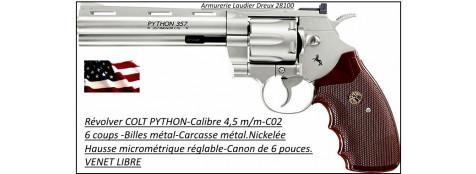 """Révolver -Colt - PYTHON-CO2-Cal 4.5mm- Billes d'acier-6 coups-Carcasse métal Nickelée-Canon de 6 pouces-""""PROMOTION""""-Ref 21703"""