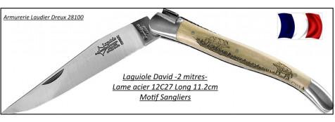 Laguiole chasse-original-Genes DAVID-Véritable laguiole-olivier-Lame 11.2 cm-motif sangliers-Ref 21965