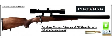 Carabine Mini Mauser Zastava-Mk6 Calibre 222 Rem  custom silence silencieuse répétition + lunette + montage -Promotion-Ref 613